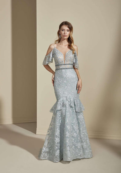 Off the Shoulder Lace Mermaid Colored Wedding Dress with Plunge - Jana Ann Couture