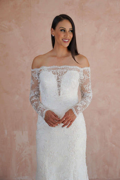 Off the Shoulder Mermaid Couture Beaded Lace Wedding Dress - Jana Ann Couture