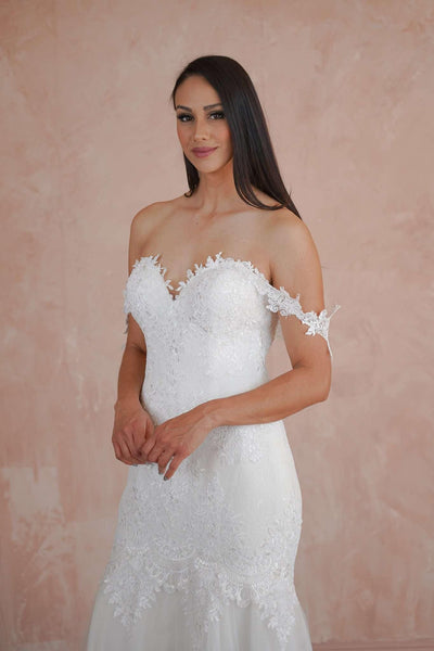 Off the Shoulder Sweetheart Lace Couture Wedding Dress - Jana Ann Couture