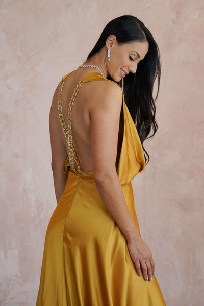 Open Back Plunging Deep V-Neck Red Carpet Dress with Crossed Gold Chain Straps - Jana Ann Couture