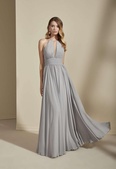 Plunging Halter Chiffon Bridesmaid Dress - Jana Ann Couture