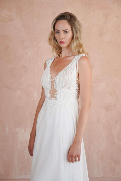 Plunging V-Neck Beach Wedding Dress with Beaded Lace Appliques - Jana Ann Couture