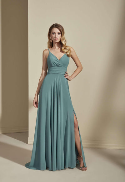 Plunging V-Neck Chiffon Bridesmaid Dress with Slit - Jana Ann Couture