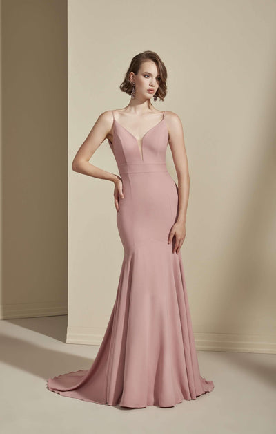 Plunging V-Neck Crepe Formal Dress with Low Back