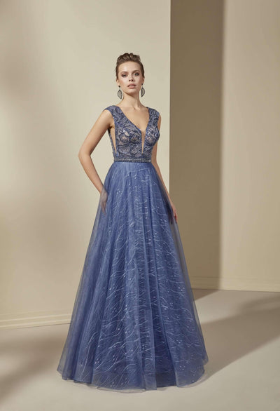 Plunging V-Neck Formal Dress with Beaded Lace Bodice