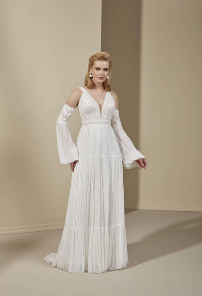 Plunging V-Neck Lace Chiffon Wedding Dress with Detachable Sleeve - Jana Ann Couture