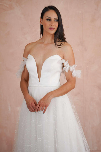 Plunging V-Neck Lace Custom Wedding Dress with See Through Back - Jana Ann Couture