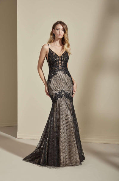 Plunging V-Neck Mermaid Modern Black Wedding Dress with Lace Appliques - Jana Ann Couture