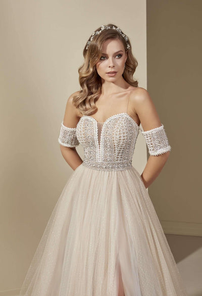 Plunging Vintage Lace Wedding Dress with Detachable Sleeves - Jana Ann Couture