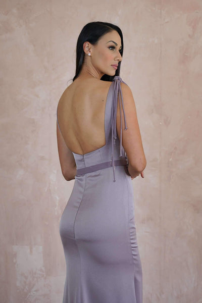 Satin Couture Evening Dress with Open Back - Jana Ann Couture