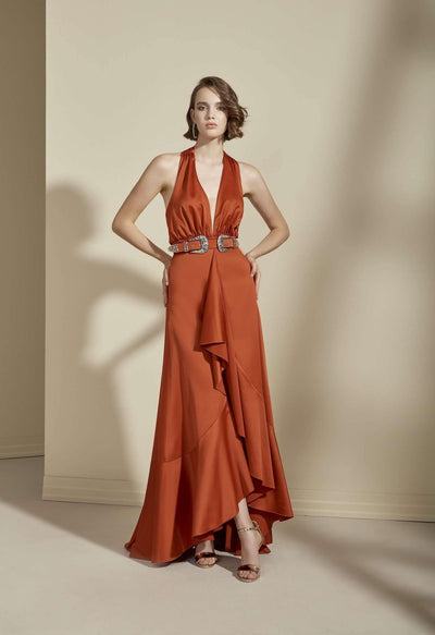 Satin V-neck Formal Dress with Deep Plunge