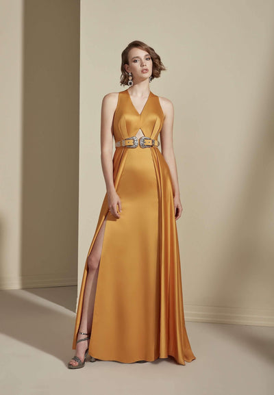 Satin V-neck Formal Dress with Low Back