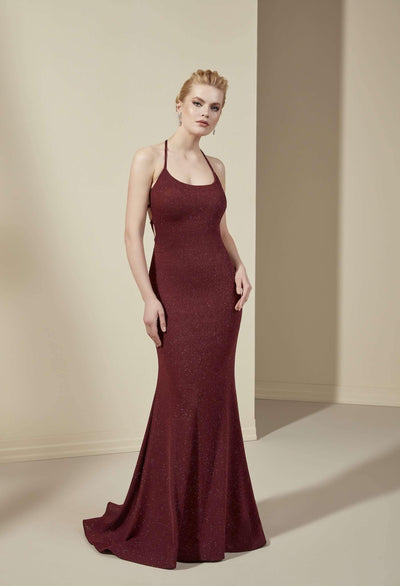 Scoop Neck Mermaid Bridesmaid Dress with Lace Up Back