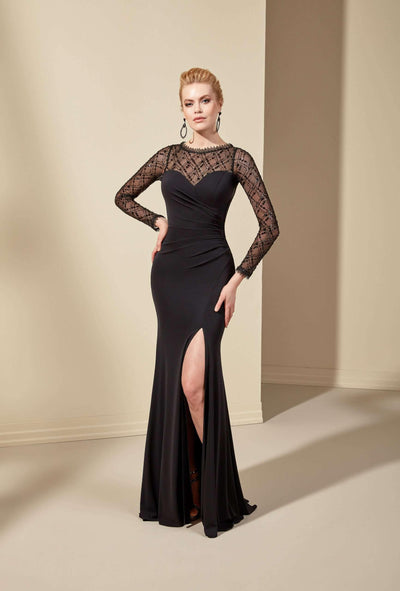 See Through Crepe Formal Dress with Long Sleeve