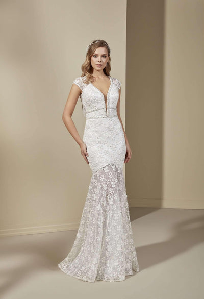 See Through Lace Mermaid Bohemian Wedding Dress with Mini Skirt and Plune - Jana Ann Couture