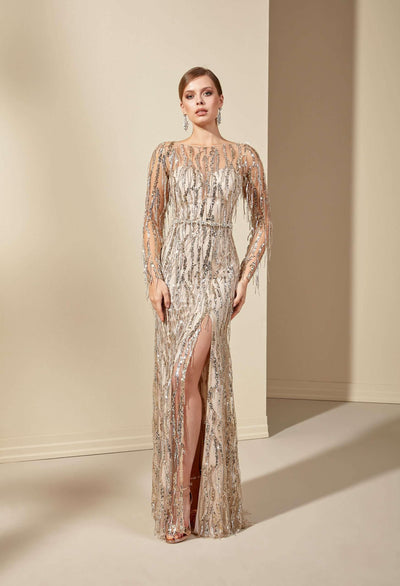 See Through Prom Dress with Plunging - Jana Ann Bridal
