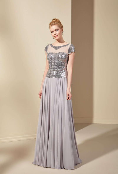 Sequined and Chiffon Mother of the Bride Dress with Illusion Neckline - Jana Ann Couture