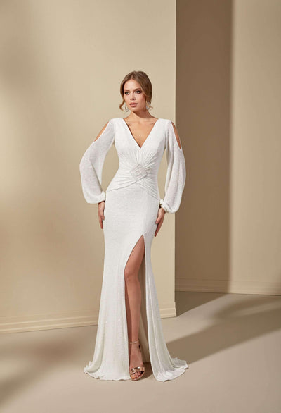 Sequined Elegant Simple Wedding Dress with Low Back