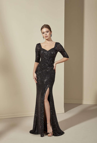 Sequined Formal Dress with High Slit - Jana Ann Couture