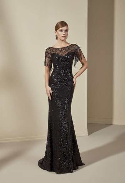 Sequined Formal Dress with Illusion Neckline - Jana Ann Couture