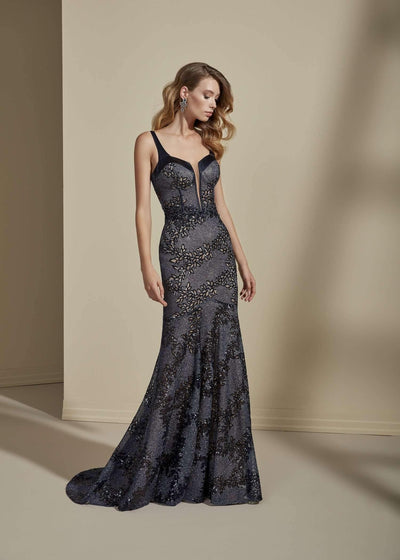 Sequined Lace Mermaid Formal Dress with Deep Plunge