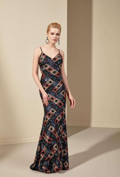 Sequined Mermaid Formal Dress with Spaghetti Straps