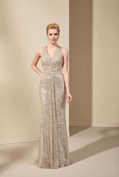 Sequined Mother of the Bride Dress with Halter Straps - Jana Ann Couture