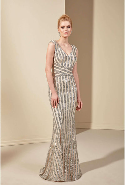 Sequined Sleeveless V-Neck Mother of the Bride Dress