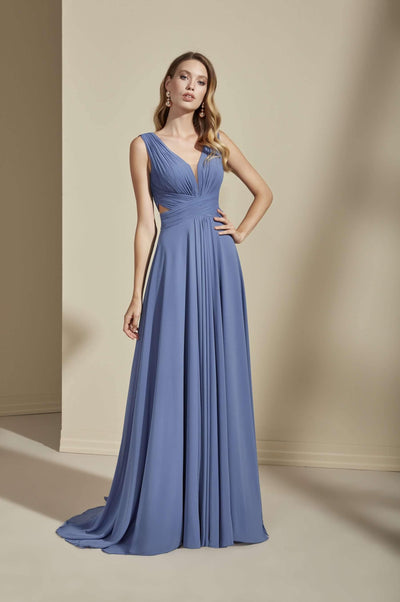 Sleeveless Chiffon Bridesmaid Dress with Low V-Back - Jana Ann Couture