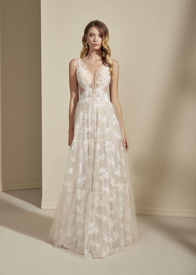 Sleeveless Elegant Lace Bohemian Wedding Dress with Plunging V-Neck - Jana Ann Couture