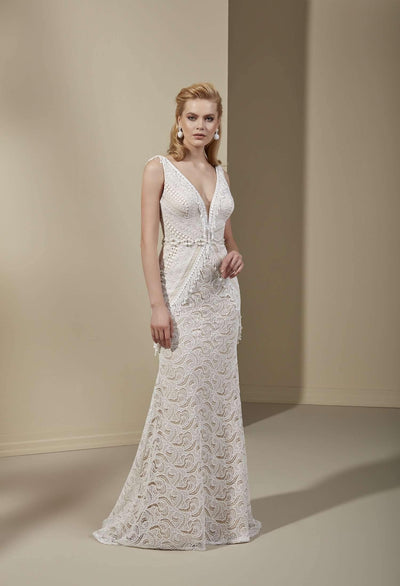 Sleeveless Lace Bohemian Wedding Dress with Plunging V-Neck - Jana Ann Couture