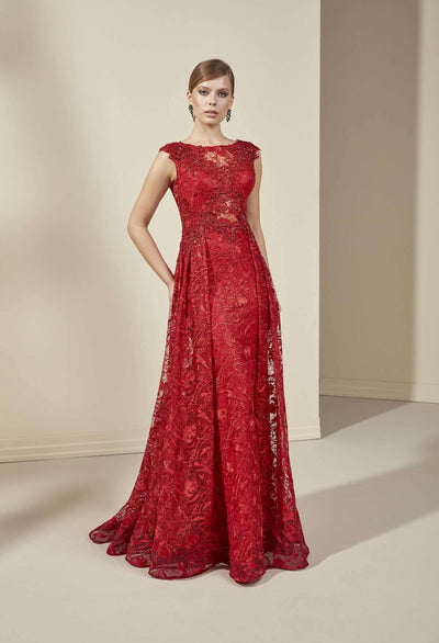 Sleeveless Lace Mother of the Bride Dress with Illusion Boatneck