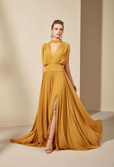 Sleeveless Mother of the Bride Dress with High Slit