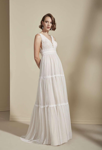 Sleeveless Simple Bohemian Wedding Dress with Plunging V-Neck - Jana Ann Couture