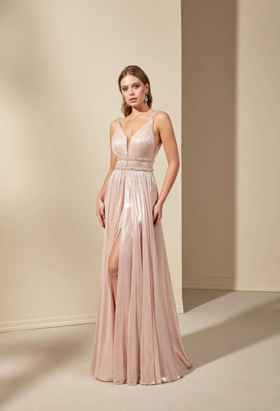 Sparkly Chiffon Bridesmaid Dress with Plunge and Slit - Jana Ann Couture