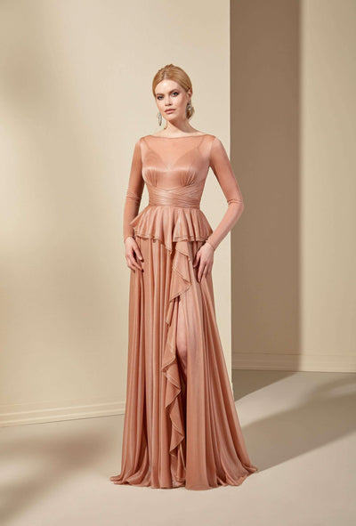 Sparkly Chiffon Mother of the Bride Dress with Ruffles - Jana Ann Bridal
