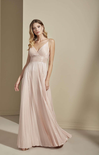 Sparkly Chiffon V-Neck Formal Dress with Pleated Waistband - Jana Ann Couture