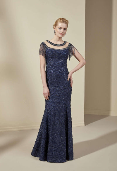 Sparkly Lace Formal Dress with Boat Neck