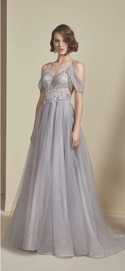 Sparkly Off The Shoulder Prom Dress with V-Back