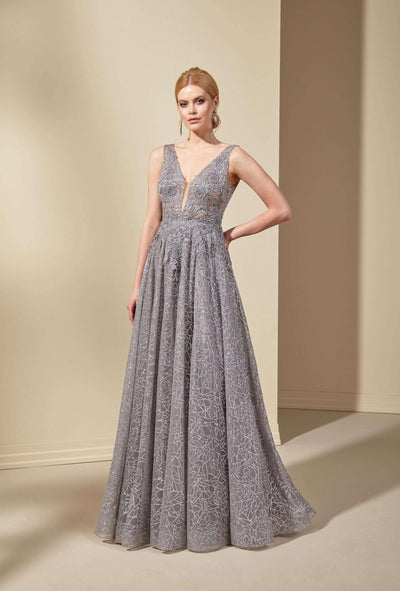 Sparkly Tulle Formal Dress with Plunging V-Neck