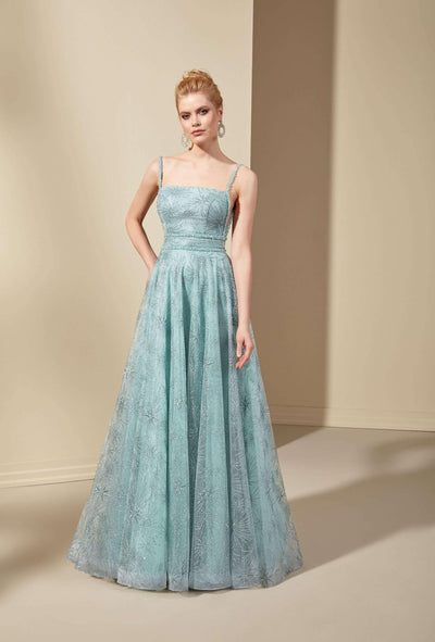 Sparkly Tulle Low V-Back Prom Dress with Straight Neckline