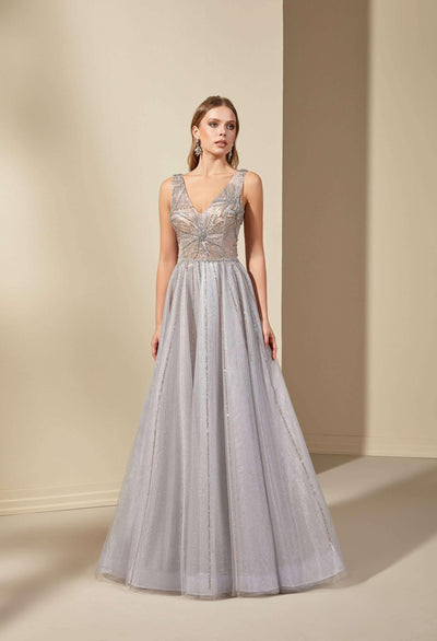 Sparkly Tulle Prom Dress with Sequined Appliques on Bodice - Jana Ann Couture