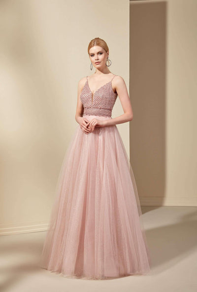 Sparkly V-Neck Prom Dress with Plunging - Jana Ann Bridal
