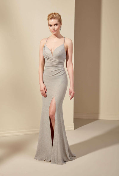 Sparkly V-Neck Prom Dress with Slit and Plunge - Jana Ann Couture