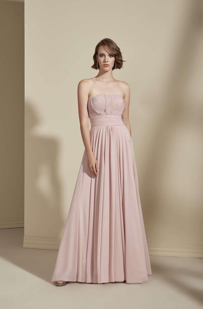 Strapless A-Line Chiffon Bridesmaid Dress - Jana Ann Couture