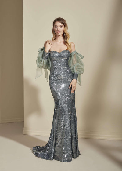 Sweetheart Chiffon Prom Dress with Detachable Sleeves - Jana Ann Couture