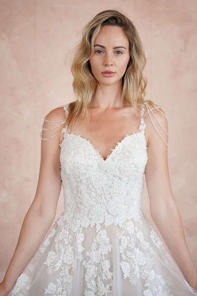 Sweetheart Couture Wedding Dress with Beaded Lace Appliques - Jana Ann Couture
