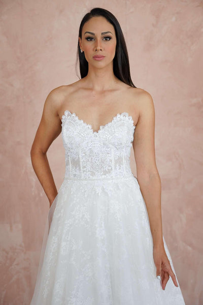 Sweetheart Couture Wedding Dress with French Chantilly Lace - Jana Ann Couture