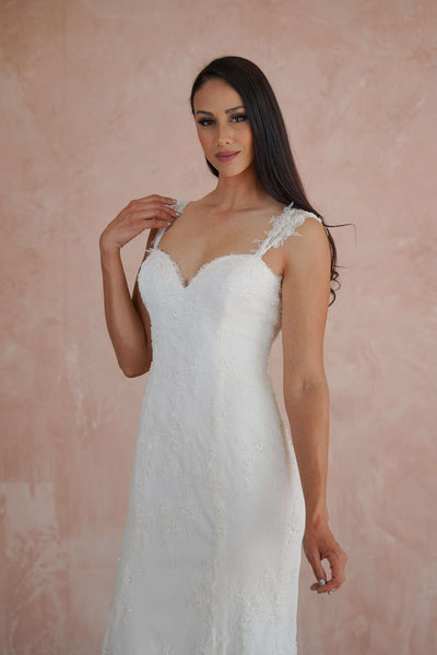 Sweetheart Custom Beach Wedding Dress with French Chantilly Lace and Soft Beading - Jana Ann Couture