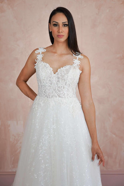 Sweetheart Custom Wedding Dress with Sparkly Lace - Jana Ann Couture